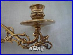 Pair Decorative Nouveau Style Brass Candlestick Holder Wall Candle Sconce Piano
