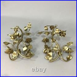 Pair Gilt Gold Hollywood Regency Italian Rose Wall Sconce 2 Candle Holder