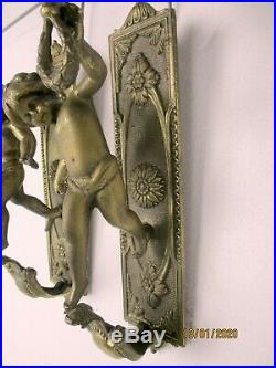 Pair Gorgeous Wall Mounted Sconces Candle Holders Putti Cherub Angels Brass