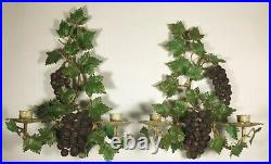 Pair Italian MID Century Hand Painted Tole Grapevine Candle Holder Wall Sconces
