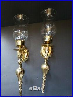 Pair Matching Brass Wall Sconces Edge glass lampshade Candle Holders 12