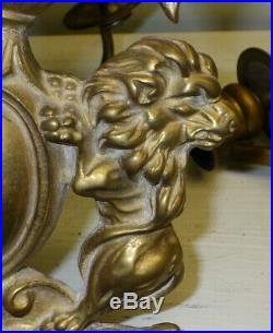 Pair Of 19th C George IV Brass Candle Holders Wall Sconces 3 Arms Lions & Eagle