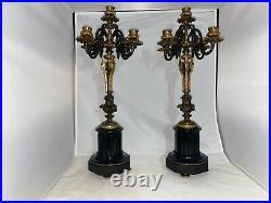 Pair Of Antique Bronze Candelabra W Ornamental Fluted Columns 5 Candle Holder
