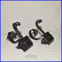 Pair Of Antique Iron Wall Sconces Candle Holders Fixtures Architectural
