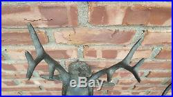 Pair Of Iron Cast Deer Head And Antler Wall Candle Sconces