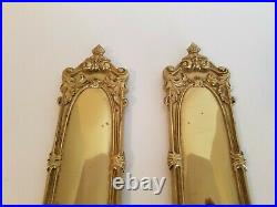 Pair Of Vintage Tell City Chair Company Polished Brass Candle Wall Sconces
