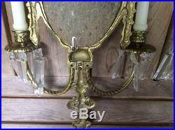Pair Of Vintage Very Heavy Brass Wall Candle Holder Sconce Fixtures With Prisms