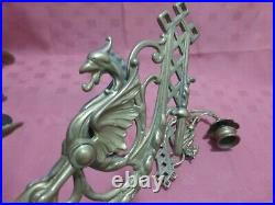 Pair Rare Antique Griffin / Dragon Brass Wall / Piano Candle Holders