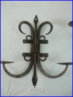 Pair Retro Iron Wall Sconces Pillar Candle Holders Fleur De Lis Motif 15 tall