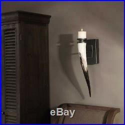 Pair Romany Santa Fe African Yellow Cattle Horn Wall Sconce Candle Holders