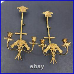 Pair Vintage Brass Plate 2 Arm Candle Holders Candelabra Wall Sconces Granny Cor