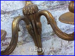Pair Vintage Double French Empire Brass Bronze Wall Candle Holder Sconce Rococo