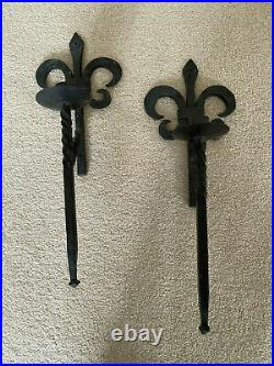 Pair Vintage Hand Forged Wrought Iron Fleur-de-lis Wall Sconce Candle Holders