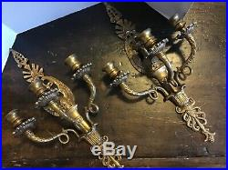 Pair Vintage Heavy Ornate Gold/ Brass Tone 3 Arm Wall Candle Sconces Eagle