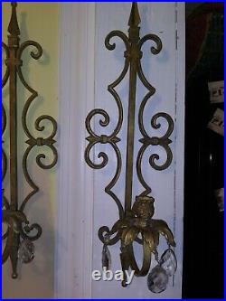 Pair Vintage Large Heavy Wrought Iron Wall Candle Holder Sconces With Crystals