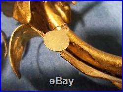Pair Vtg GILT GOLD HOLLYWOOD REGENCY ITALY ROSE WALL SCONCE TABLE CANDLE HOLDERS