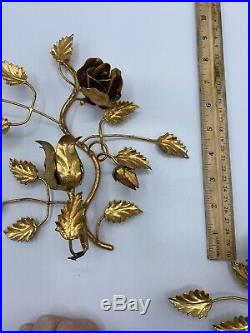 Pair Vtg GILT GOLD HOLLYWOOD REGENCY WALL SCONCES- CANDLE HOLDERS- TAGGED ITALY