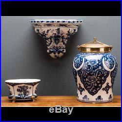 Pair Wall Shelf Display Corbel Bracket Sconce Antiqued Blue/White Porcelain