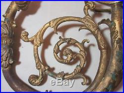 Pair antique 1800's Victorian ornate dore bronze wall candle holder sconce arms
