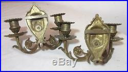 Pair antique 1800s ornate gilt brass candle holder wall sconces fixtures figural