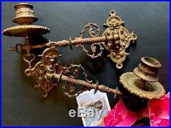 Pair antique brass ornate piano candle wall sconces holders swivel back plate