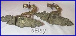 Pair antique ornate 1800s Victorian dore bronze wall sconce candle holders brass