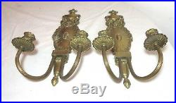 Pair antique ornate Empire style gilt brass candle holder wall sconces fixtures
