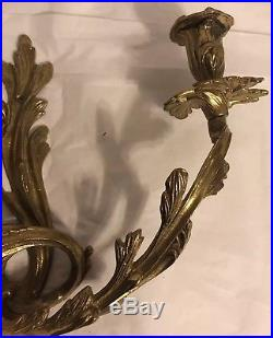 Pair antique ornate brass rococo style wall mount candle holder sconce 18