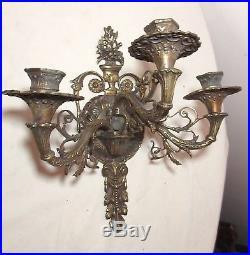 Pair antique ornate gilt brass 3 arm candle holder wall sconces fixtures bronze