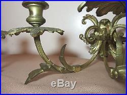 Pair antique ornate victorian gilt bronze wall candle holder fixtures brass