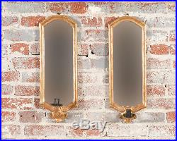 Pair of 19th century Gilt wood Mirror wall Sconces withCandle holder