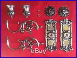 Pair of 2 Antique Metal Wall Sconce Candle Holders Silver Tone Oak Leaf Pattern