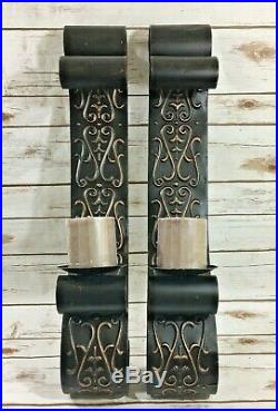Pair of 2 Feet Wall Sconce Candle Iron Holder Metal Scroll Decor Antique Bronze