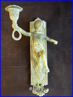 Pair of Antique CAST BRASS CHERUB WALL MOUNTED CANDLE HOLDERS Patena Wall Sconce