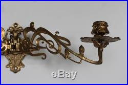 Pair of Art Nouveau floral wall piano sconces candle holders