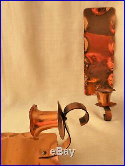 Pair of Copper Wall Candle Holders Sconces Handhammered by Glencroft Coppersmit