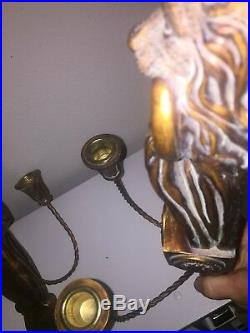 Pair of French Gesso Wall Sconces Candle Holders Gilded Lions head