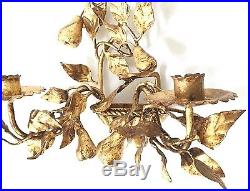 Pair of Hollywood Regency Italian Gilt Tole Wall Sconce Candle Holders