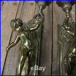 Pair of Large Ornate Brass Cherub Candle Holders / Sconces Wall Lights