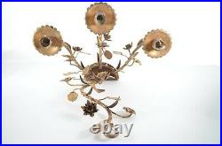 Pair of Mid Century Wall Candle Holders Sconces Gilt Metal Hollywood Regency