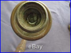 Pair of Solid Brass Two Arm Wall Sconces Candle Holders One with Mounting