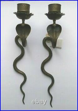 Pair of Unique Vintage Ornate Brass Cobra Snake Candle Holders, Wall Sconces