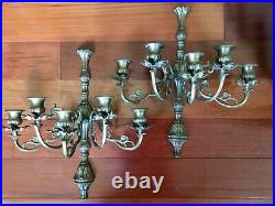 Pair of Vintage 5 Arm Brass Candelabra Wall Sconces