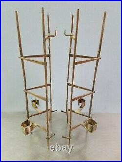 Pair of Vintage Abstract Brutalist Candle Wall Sconce Sculptures, Welded Nails
