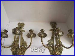 Pair of Vintage Antique Gold brass Wall Sconces Candle Holders Ornate 6 Arms
