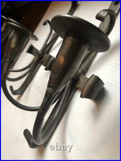 Pair of Vintage Antique Hand Made Forged Metal Iron Rustic Candle Wall Sconces