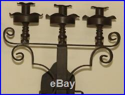 Pair of Vintage Gothic Wall Mounted Wrought Iron Candelabras