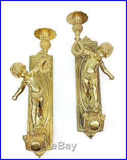 Pair of Vintage Italian Italy Brass Cherub Putti Candlestick Candle Wall Sconce
