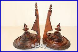 Pair of Walnut Carved Candle Holders Vintage Antique Wall Sconce Decorative