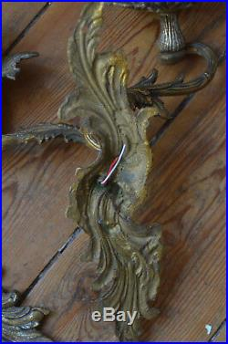 Pair of antique French solid bronze rococo wall sconces, acanthus foliage arms